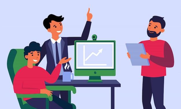 Equipo de negocios celebrando el crecimiento de los ingresos vector gratuito