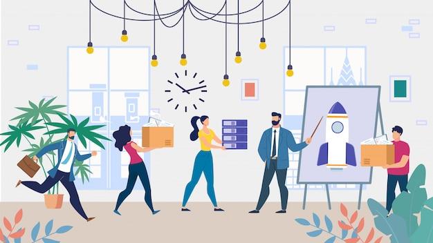 Equipo de negocios de dibujos animados trabajando en proyecto de inicio    Vector Premium