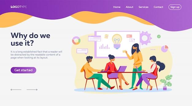 Equipo de negocios discutiendo ideas para la plantilla de página de inicio vector gratuito