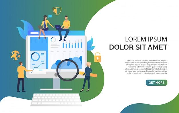 Equipo de negocios y revisión en la ilustración del monitor vector gratuito