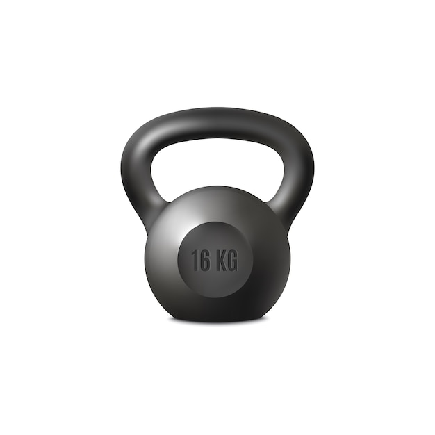 Equipo negro realista del gimnasio del peso del kettlebell para el ejercicio de elevación Vector Premium