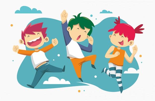 Equipo de niños felices Vector Premium