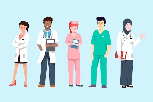 Equipo de profesionales de la salud Vector Premium