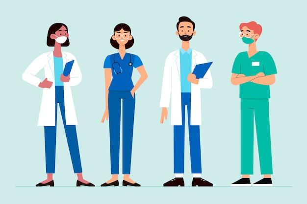 Equipo de profesionales de la salud vector gratuito