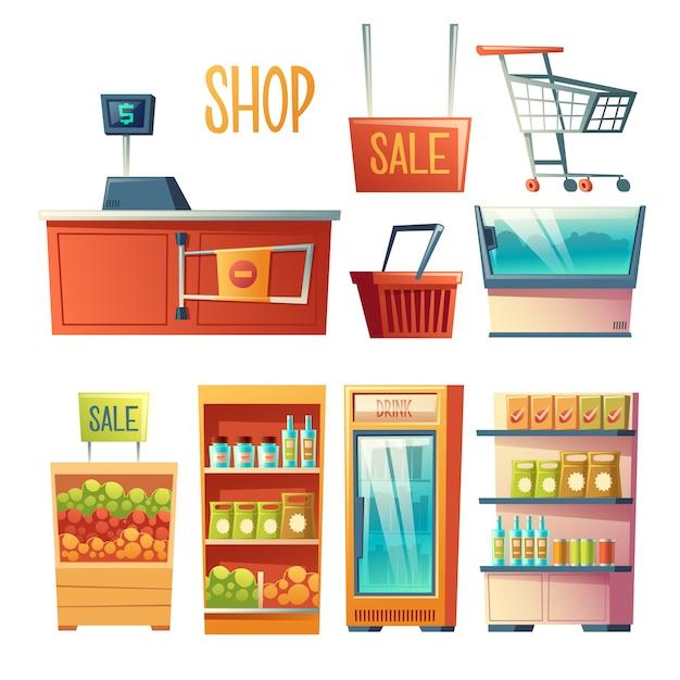 Equipo de la tienda de comestibles, conjunto de vector de dibujos animados muebles aislado sobre fondo blanco vector gratuito