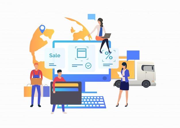 Equipo de tienda online trabajando con el cliente. vector gratuito