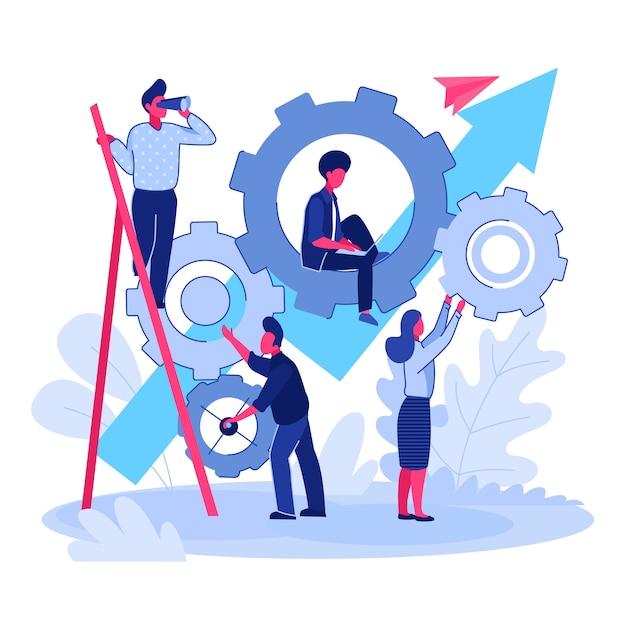 Equipo trabajando en proyecto juntos vector gratuito