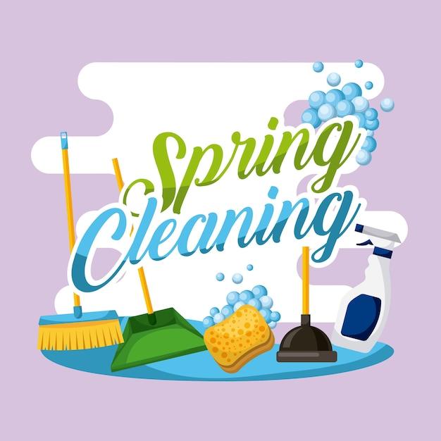 Equipo De Trabajo De Casa De Cartel De Limpieza De Primavera