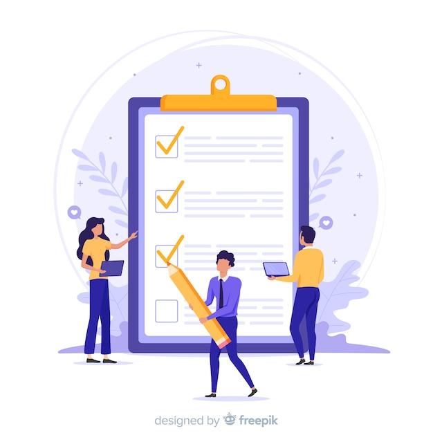 Equipo de trabajo revisando una lista de tareas gigante Vector Premium