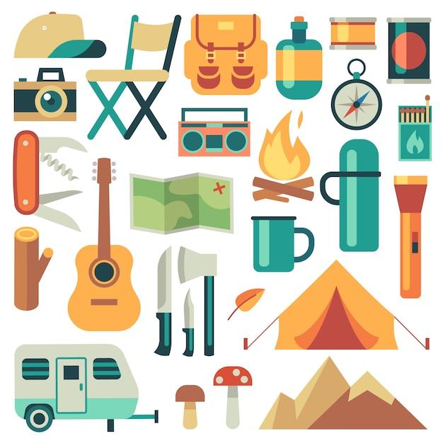Equipo de turistas y conjunto de vectores de accesorios de viaje. bosque de acampada y senderismo elementos planos. equipo para senderismo aventura al aire libre, campamento e ilustración de mochila. Vector Premium