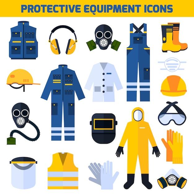 Equipo de uniformes de protección conjunto de elementos planos. vector gratuito