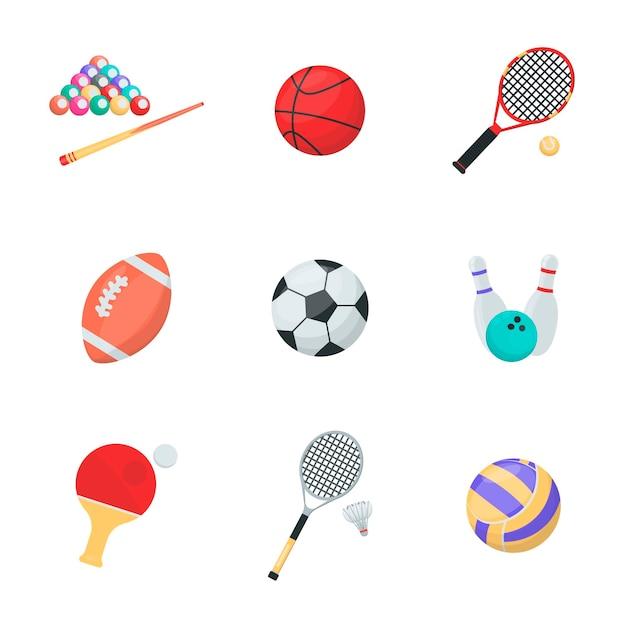 Equipos deportivos conjunto de vectores de dibujos animados bolas y cohetes billar baloncesto tenis rugby socker bolos ping pong voleibol Vector Premium