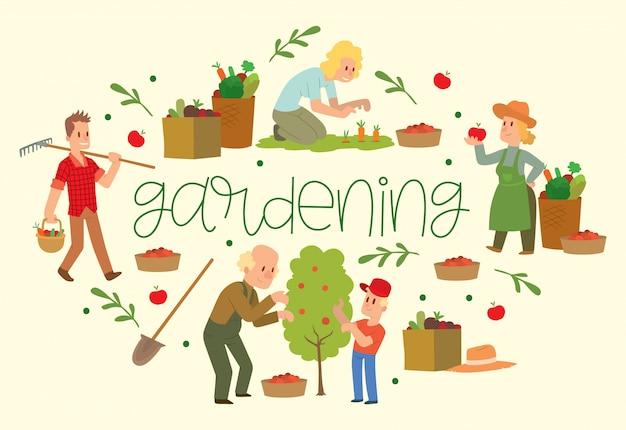 Equipos de jardinería para terrenos como rastrillos, palas, cubos. agricultor recogiendo frutas y verduras cosecha. Vector Premium