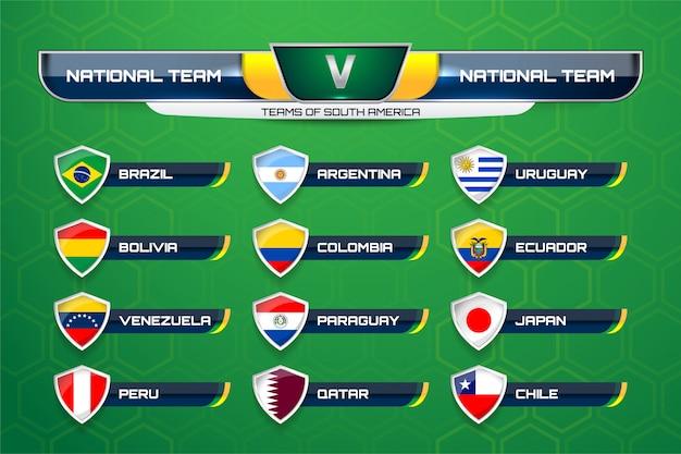 Equipos de sudamérica para el fútbol. Vector Premium