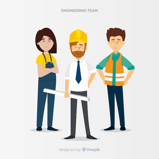Equpo de ingeniería en el trabajo vector gratuito