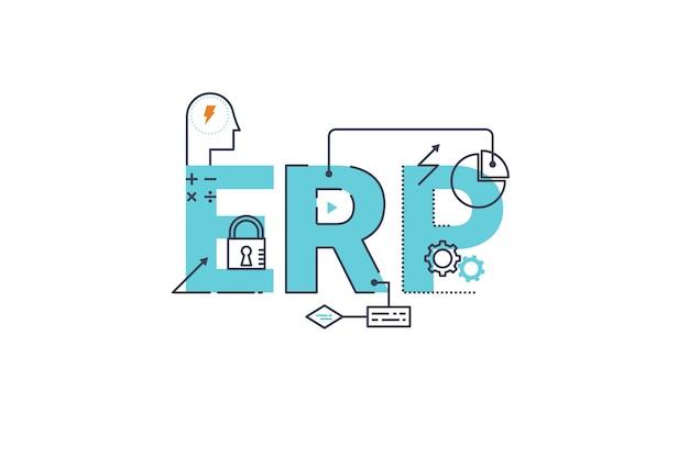 Erp - ilustración de diseño de tipografía de letras de palabras de planificación de recursos empresariales Vector Premium