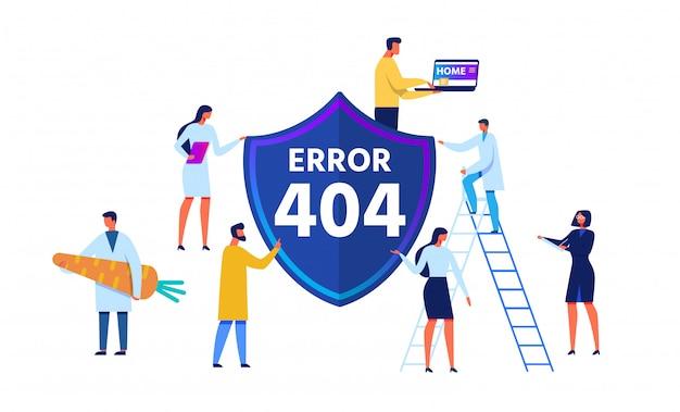 Error 404 emblema y personajes de dibujos animados Vector Premium