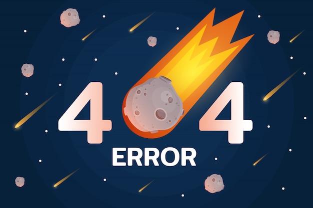 Error 404 con meteorito, estrellas y meteort en el espacio. Vector Premium