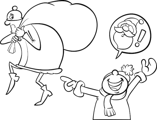 Error de santa de dibujos animados para colorear página | Descargar ...