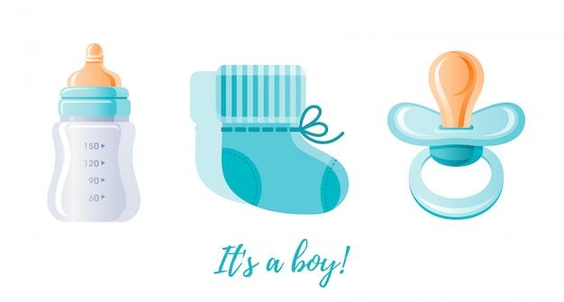 Es un conjunto de iconos de niño recién nacido. Vector Premium