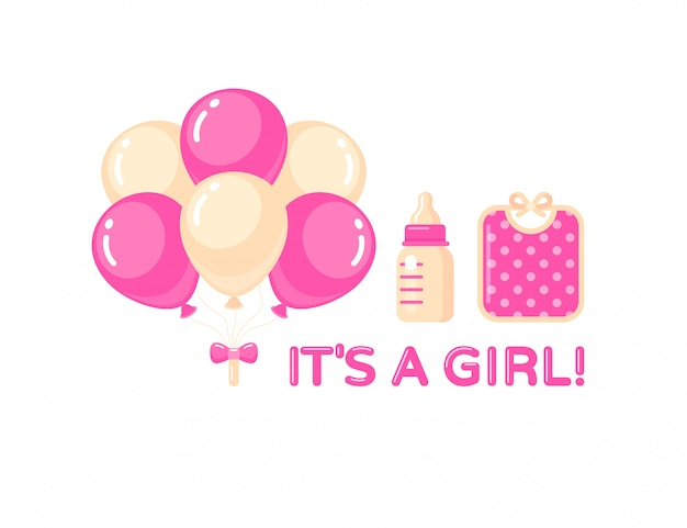 Es un conjunto de niña con globos, botella de leche y babero rosa. elemento de diseño de baby shower. Vector Premium