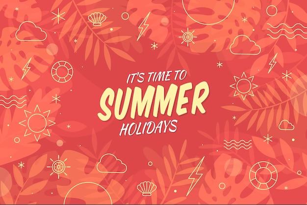 Es hora de vacaciones de verano diseño plano de fondo vector gratuito