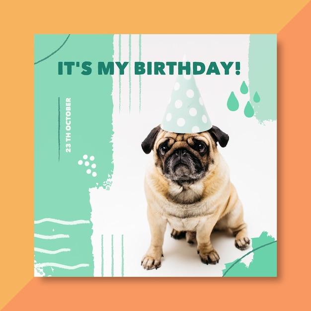 Es mi tarjeta de cumpleaños con perro vector gratuito