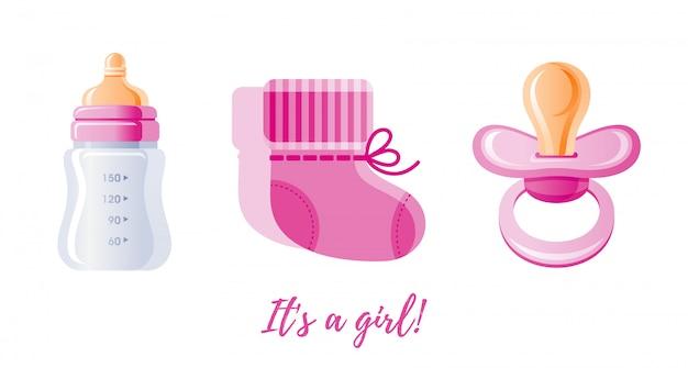 Es una niña, un conjunto de iconos recién nacido. Vector Premium