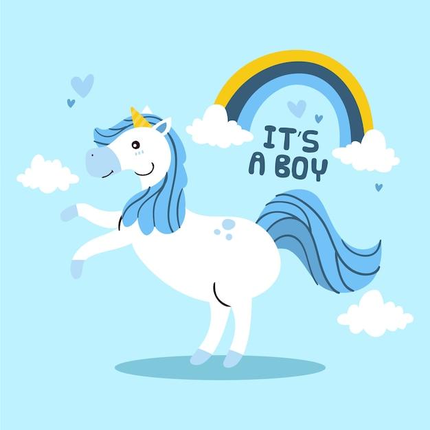 Es un niño unicornio Vector Premium
