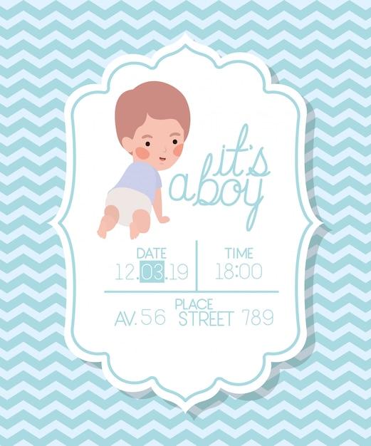 Es una tarjeta de baby shower para niños pequeños. vector gratuito