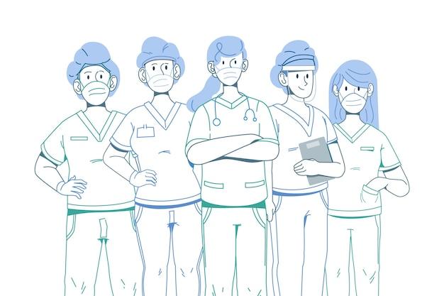 Esbozar héroes del sistema médico. vector gratuito