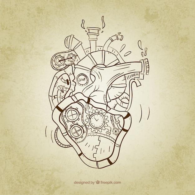 Esbozo de corazón steampùnk vector gratuito