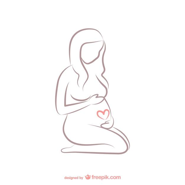 Esbozo de mujer embarazada Vector Premium