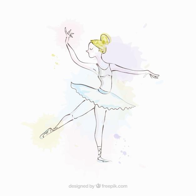 Esbozo sencillo de bailarina vector gratuito