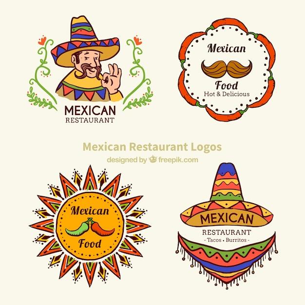 Esbozos De Logotipos De Comida Tipica Mexicana Vector Gratis