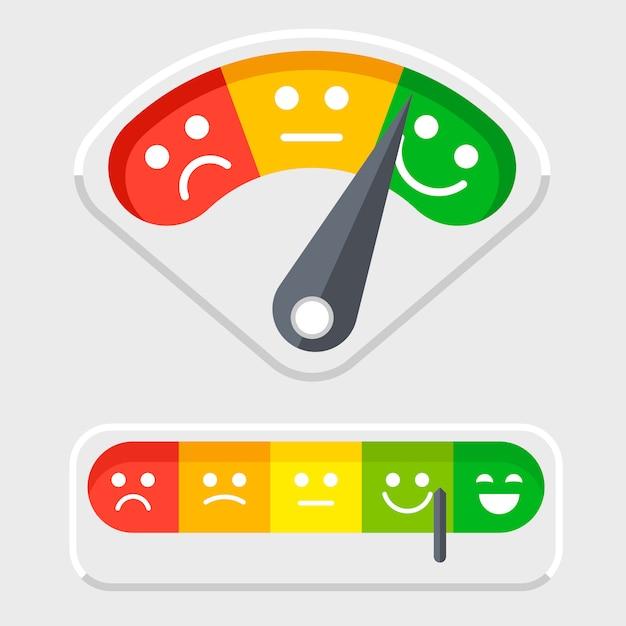 Escala de emociones para clientes retroalimentación ilustración vectorial Vector Premium
