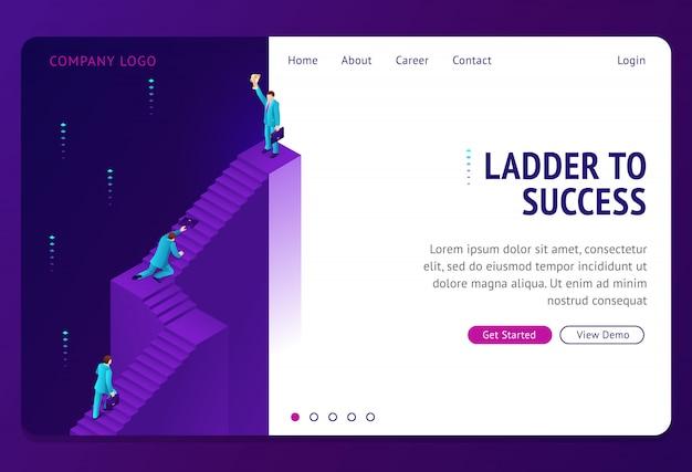 Escalera al éxito isométrica landing page vector gratuito