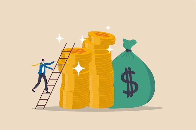 Escalera de éxito en el objetivo financiero, logro de ingresos de la trayectoria profesional o inversión para el concepto de jubilación, joven empresario subiendo la escalera hasta la cima de la pila de monedas de dinero metas ricas y adineradas. Vector Premium