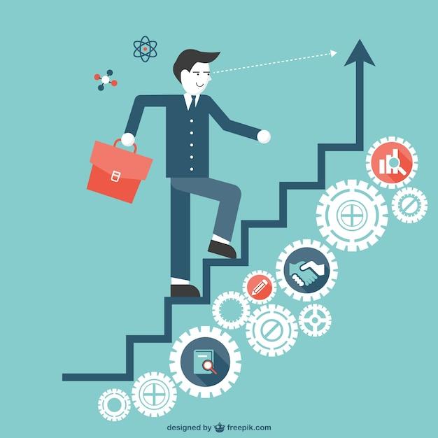 Escalera hacia el éxito Vector Gratis