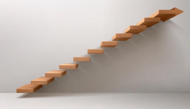 Escalera marrón y signo de flecha en lugar del escalón superior vector gratuito