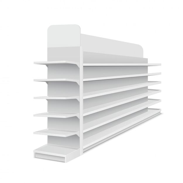 Escaparate largo vacío blanco con estantes para productos sobre fondo blanco. rack para supermercados, centros comerciales. ilustración vectorial Vector Premium