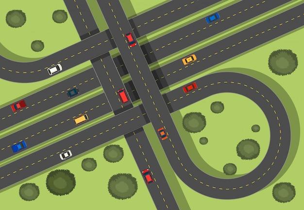 Escena aérea con carreteras y coches. vector gratuito