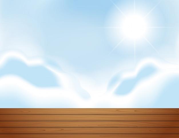 Escena de azotea y bluesky. vector gratuito