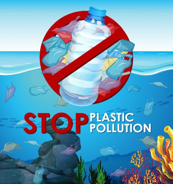 Escena con bolsas de plástico en el océano. vector gratuito
