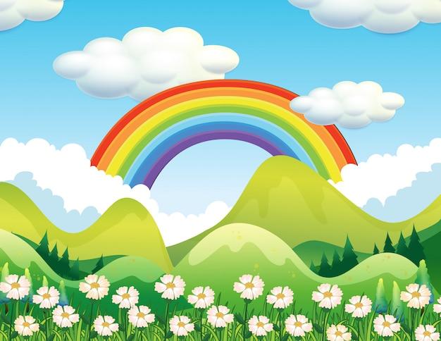 Una escena de bosque y arcoiris vector gratuito