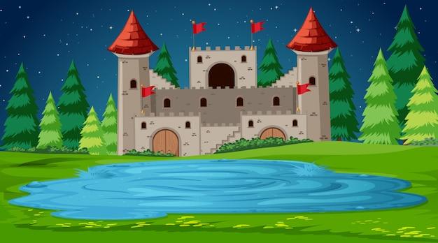 Escena del castillo en la noche vector gratuito