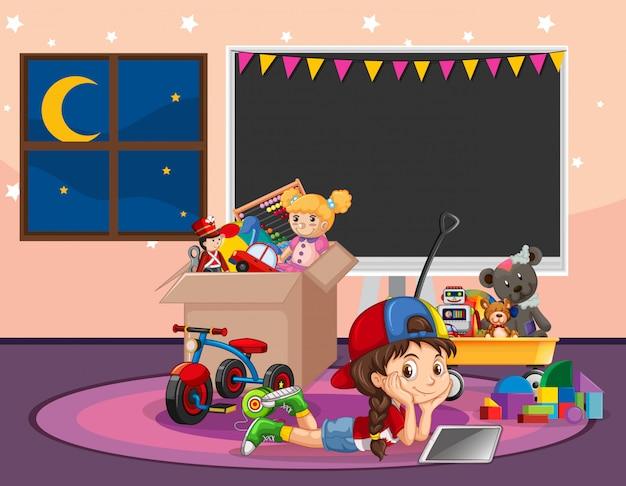 Escena con chica relajante en la sala llena de juguetes vector gratuito
