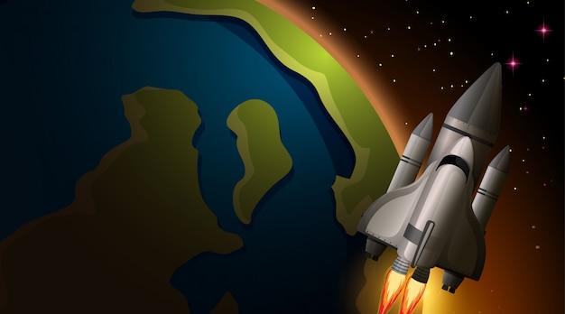Escena de cohete y tierra vector gratuito