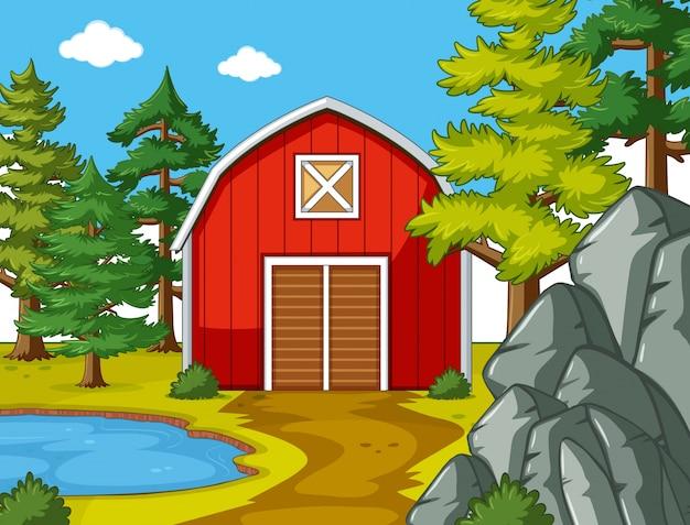 Escena con granero rojo junto al estanque   Descargar Vectores Premium