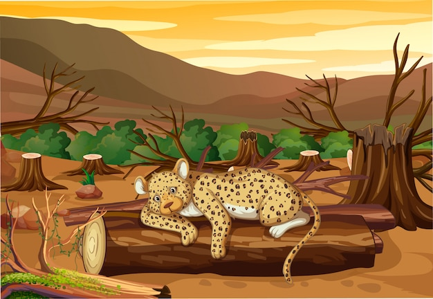 Escena de control de la contaminación con tigre y deforestación. vector gratuito